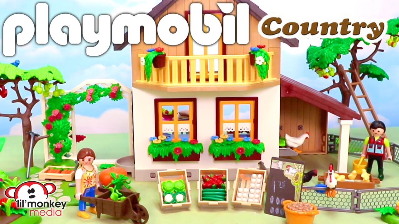 Playmobil Country Farmhouse with Market and Vegetable Garden with ... for Farmhouse Playmobil  565ane