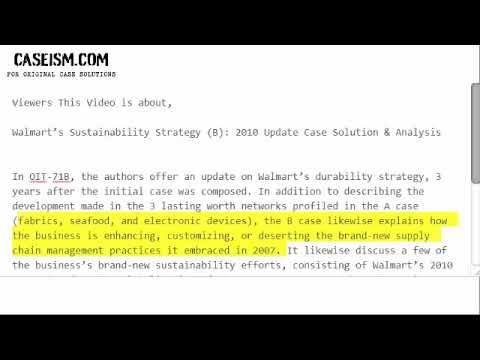 Walmart's Sustainability Strategy (B): 2010 Update Case Solution &  Analysis- Caseism com