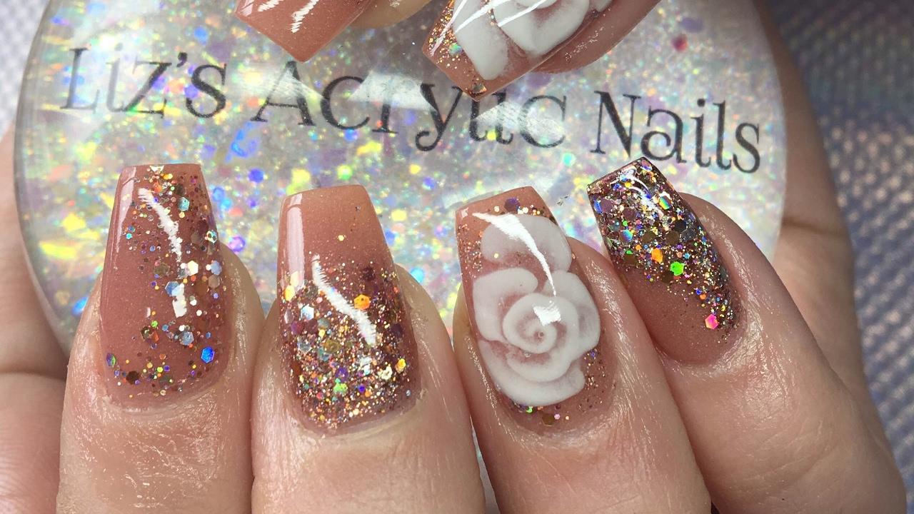 Acrylic Nails Cashmere Holo Rose Gold