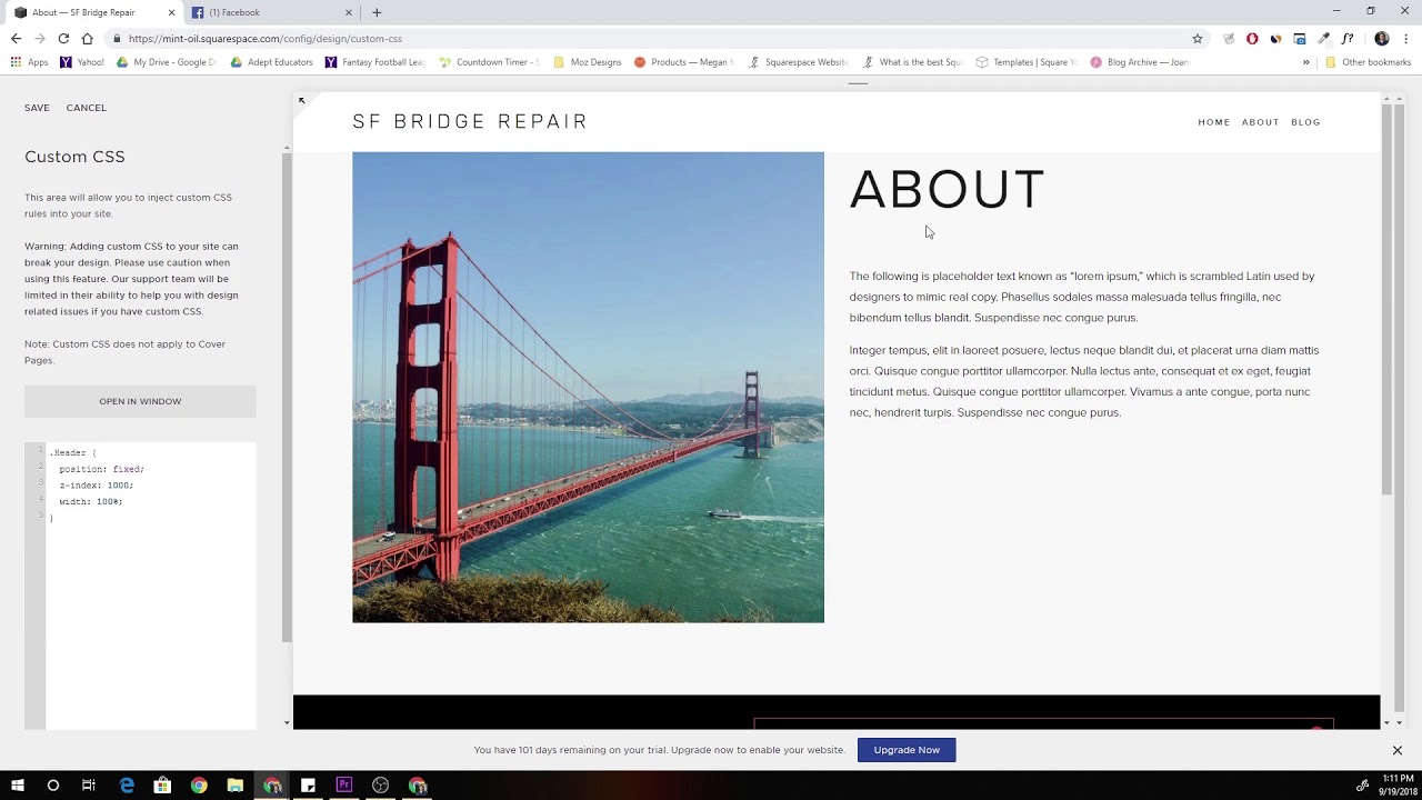 how to make a header in squarespace