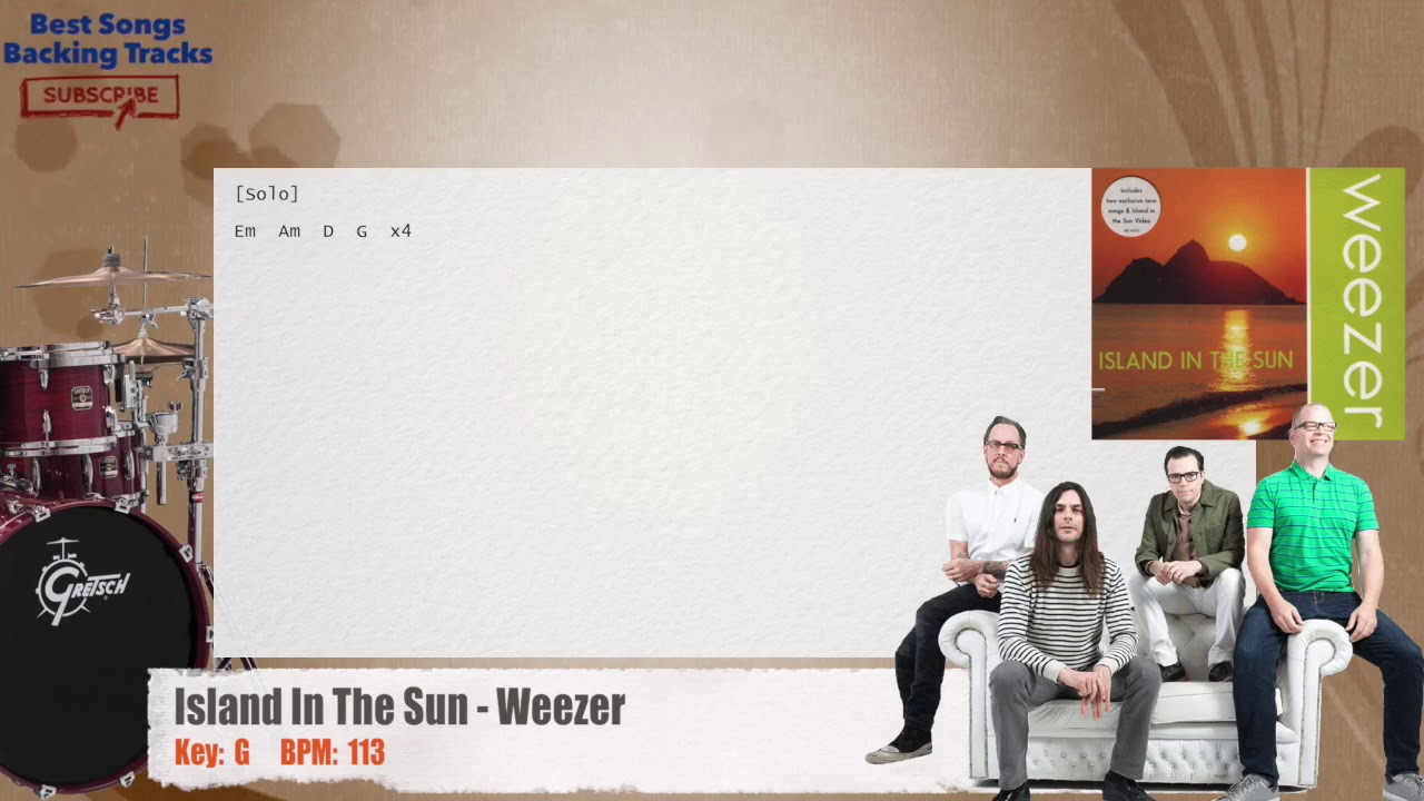 Island In The Sun Weezer Drums Backing Track With Chords And