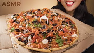 VEGAN ASMR NO MEAT, NO CHEESE PIZZA   EATING VEGAN (No Talking) Crunchy Eating Sounds   MUKBANG