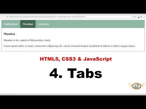 4. Horizontal Tabs | Menu | HowToCreate Series | HTML5, CSS3 & JavaScript
