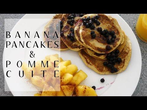 [recette]-:-petit-déjeuner- -banana-pancakes-&-pomme-cuite- 