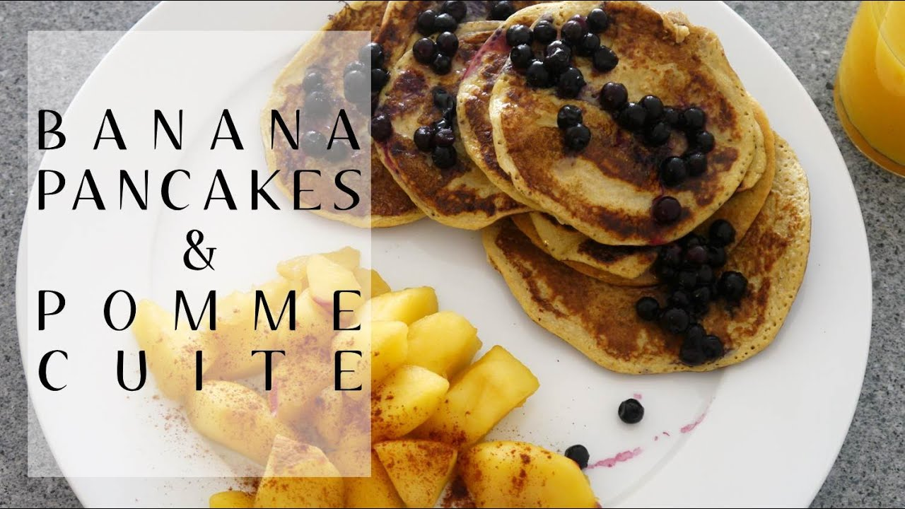 recette petit d jeuner banana pancakes pomme cuite youtube. Black Bedroom Furniture Sets. Home Design Ideas