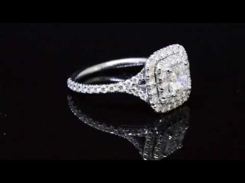 Princess Cut Double Halo Diamond Engagement Ring