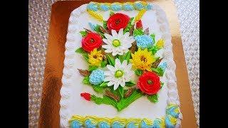 Украшение торта в домашних условиях кремом БУКЕТ ПОЛЕВЫХ ЦВЕТОВ