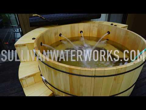 alaskan-yellow-cedar-wood-hot-tub-build-(cladding/plumbing-shroud)