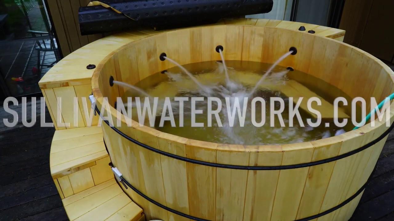 Plumbers Pipe Cladding : Alaskan yellow cedar wood hot tub build cladding plumbing