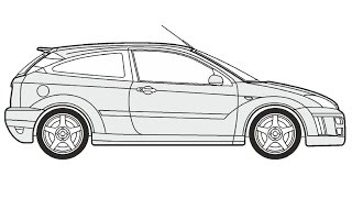 How to Draw a Ford Focus RS / Как нарисовать Ford Focus RS