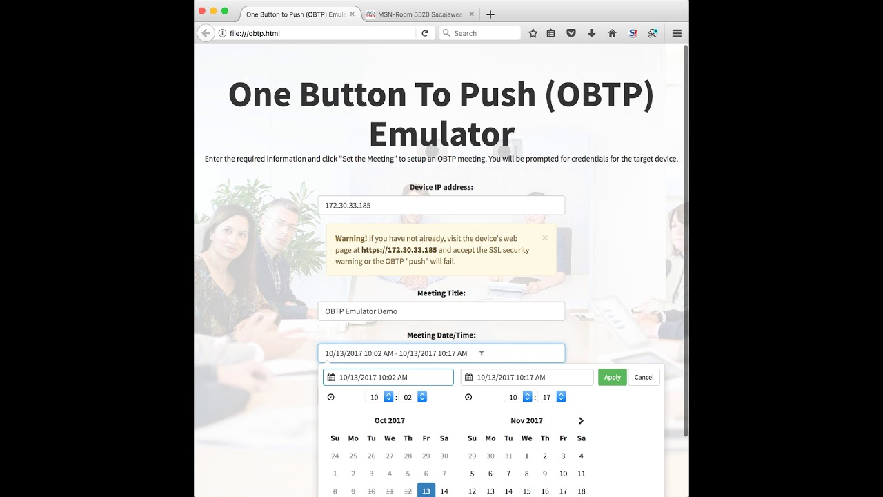 Cisco TelePresence One Button to Push (OBTP) Emulator