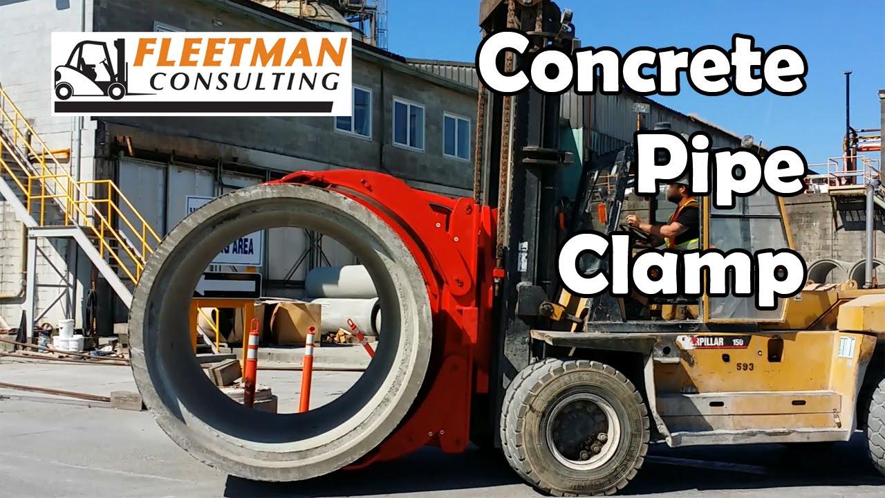 Forklift concrete pipe clamp attachment fleetman