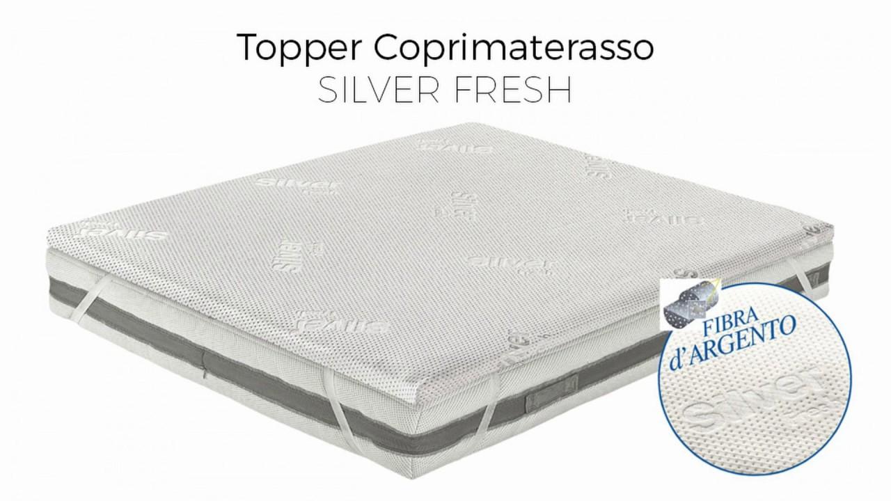 BiancheriaWeb Topper Coprimaterasso Imbottito Antibatterico Memory MOD Silver Correttore Materasso Matrimoniale Silver