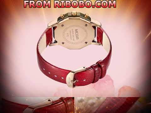 RIBOBO Women's 24-hour Chronograph Red Leather Strap Quartz Watches