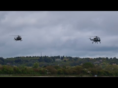 Westland Scout and Wasp Arrival at Abingdon 3rd May 2015