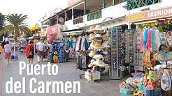 Puerto del Carmen main strip walk Lanzarote, beach front from Matagorda end shops restaurants
