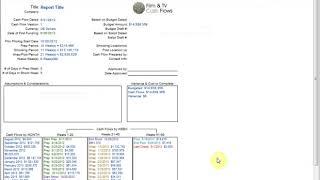 Showbiz Cash Flows: Reports Extras Topsheet Summary Sheet
