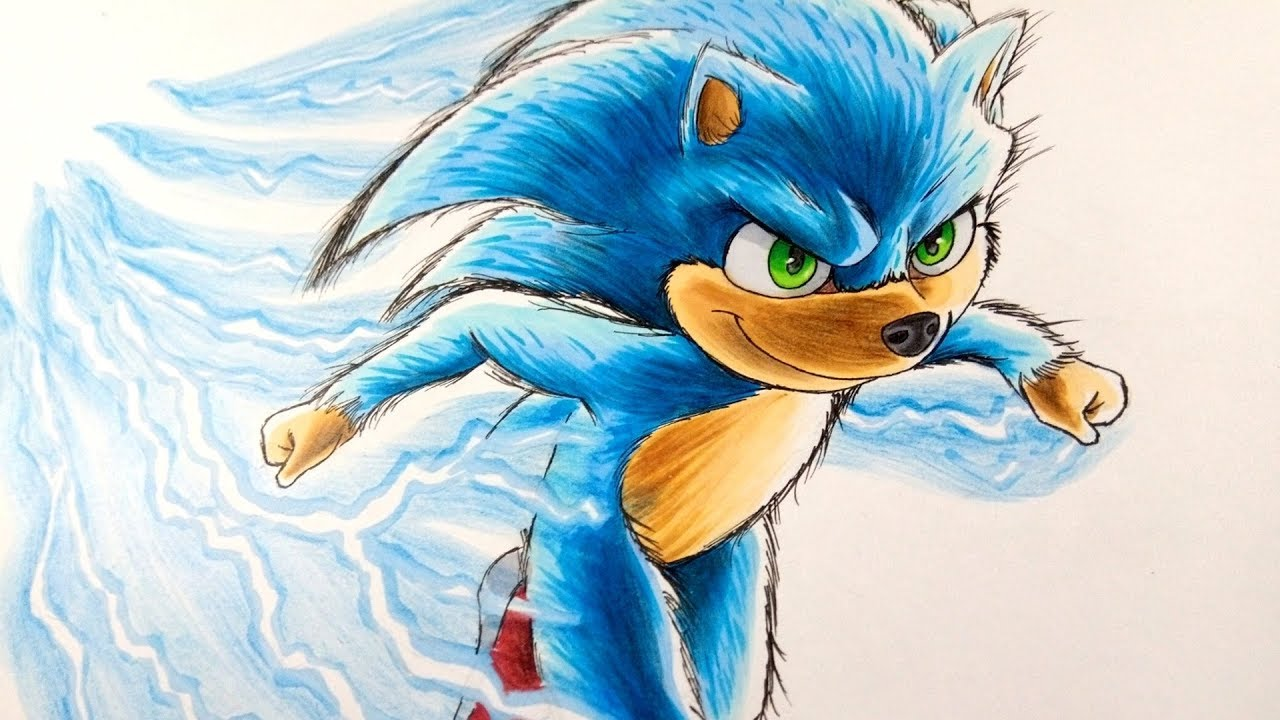 Drawing Sonic The Movie S Trailer Design Youtube