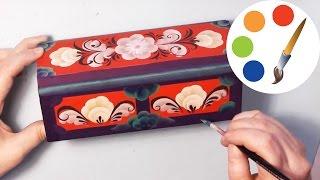 One stroke, Paint a red box, Роспись красной шкатулки, irishkalia