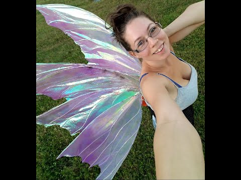 DIY big Cellophane Fairy Wings for cosplay