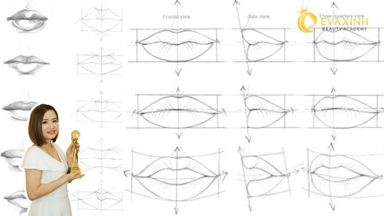 Cách vẽ khuôn môi trên da giả | Học phun xăm cùng chuyên gia thẩm mỹ EVA XINH