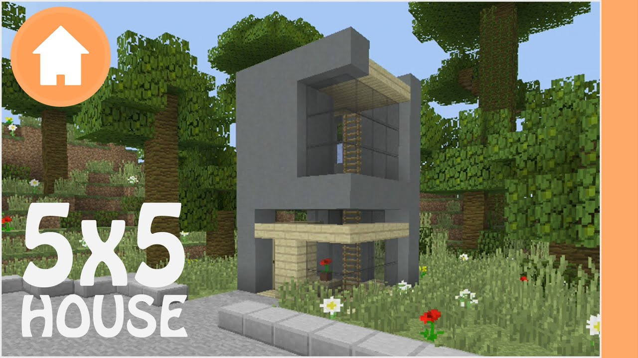 minecraft house tutorial 5x5 modern lot house xbox pe