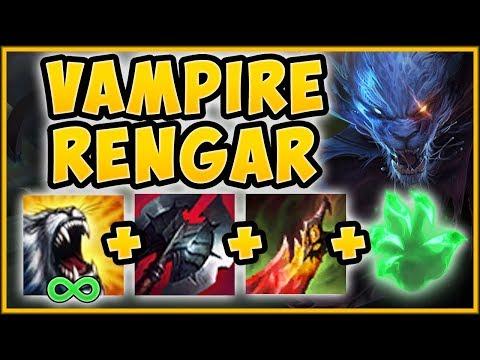 WTF VAMPIRE RENGAR 100% HAS TOO MUCH HEALING UNLIMITED SUSTAIN RENGAR TOP S9 League of Legends
