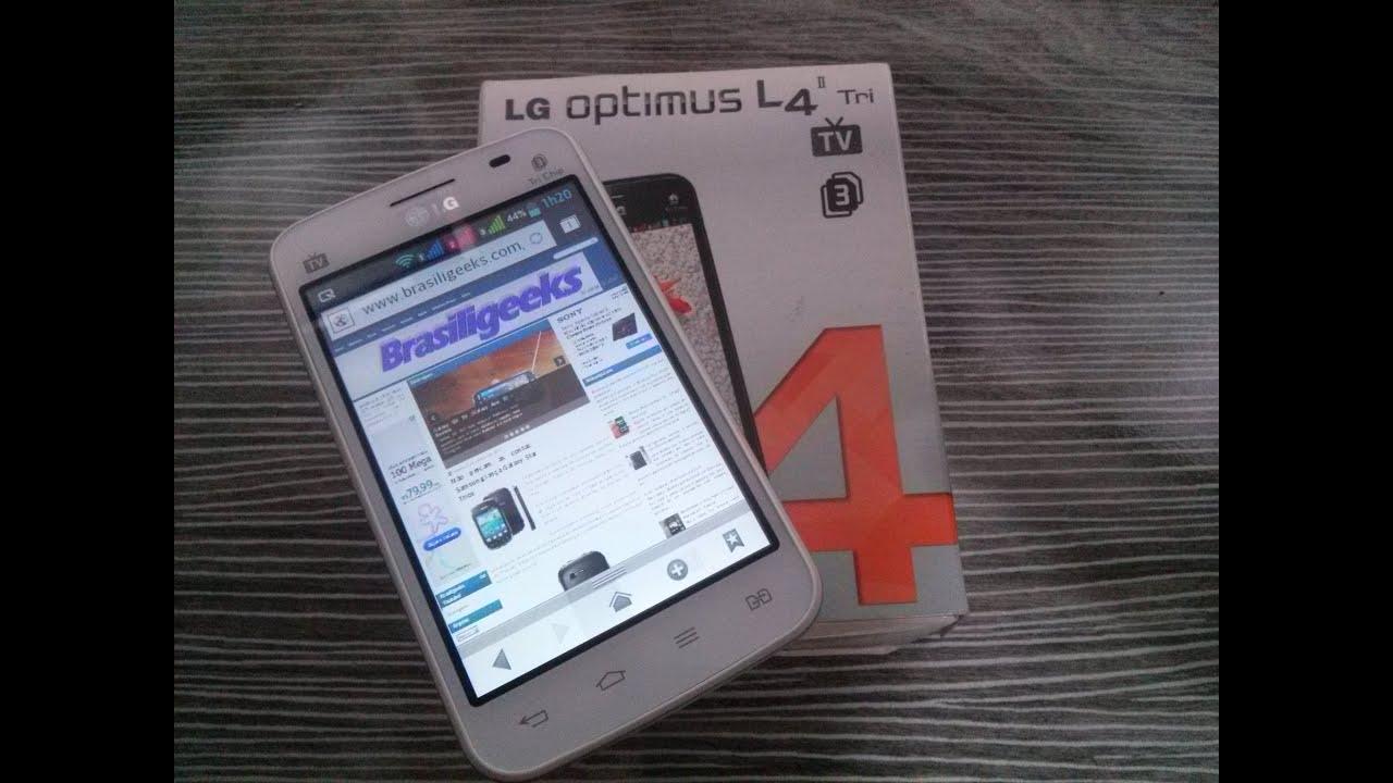57719b393a3 LG Optimus L4 II Tri TV - E470- Análise e Testes - YouTube