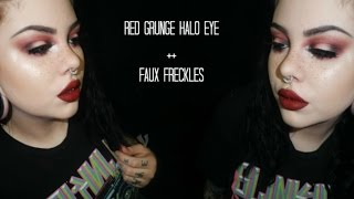 Red Grunge Halo Eye + Faux Freckles | Makeup Tutorial ♡