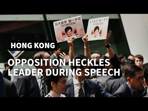 AFP news agency: Opposition heckles lead Hong Kong leader to abandon policy speech | AFP