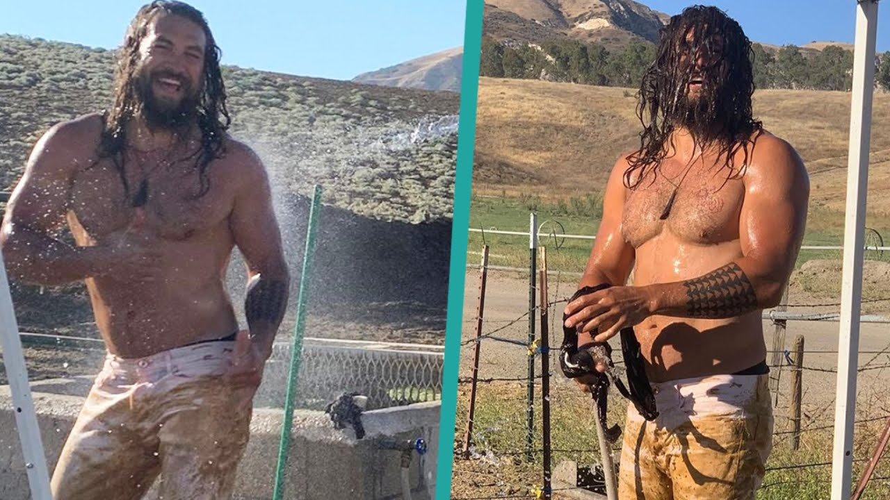 Shirtless Jason Momoa Gets Hosed Down After Being Covered in Mud
