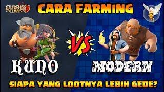 CARA FARMING Clasher KUNO vs MODERN!! - Clash of Clans Indonesia