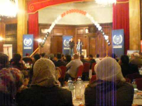 Dr Al-Aqraa and Danny Abdel Dayyem give a speech about syria