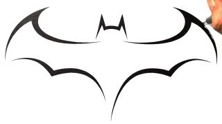 How to Draw Batman Logo - Tribal Tattoo Design Style