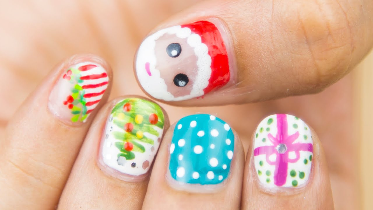 Easy Christmas Nail Art For Short Nails | Sonal Sagaraya - YouTube