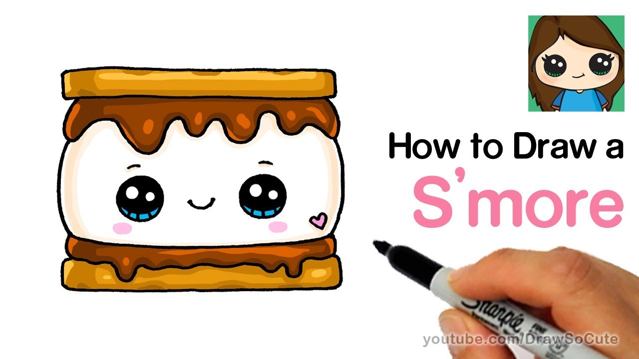 how to draw smores cute and easy youtube