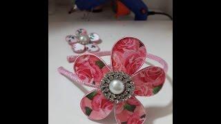 Flor em acetato, cetim e gorgurão ( ideia ideal para o verão)