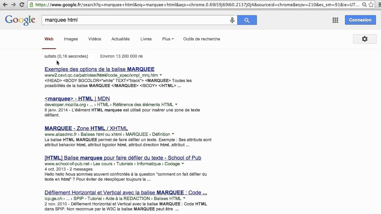 Easter Egg Google : Marquee HTML (texte qui défile)