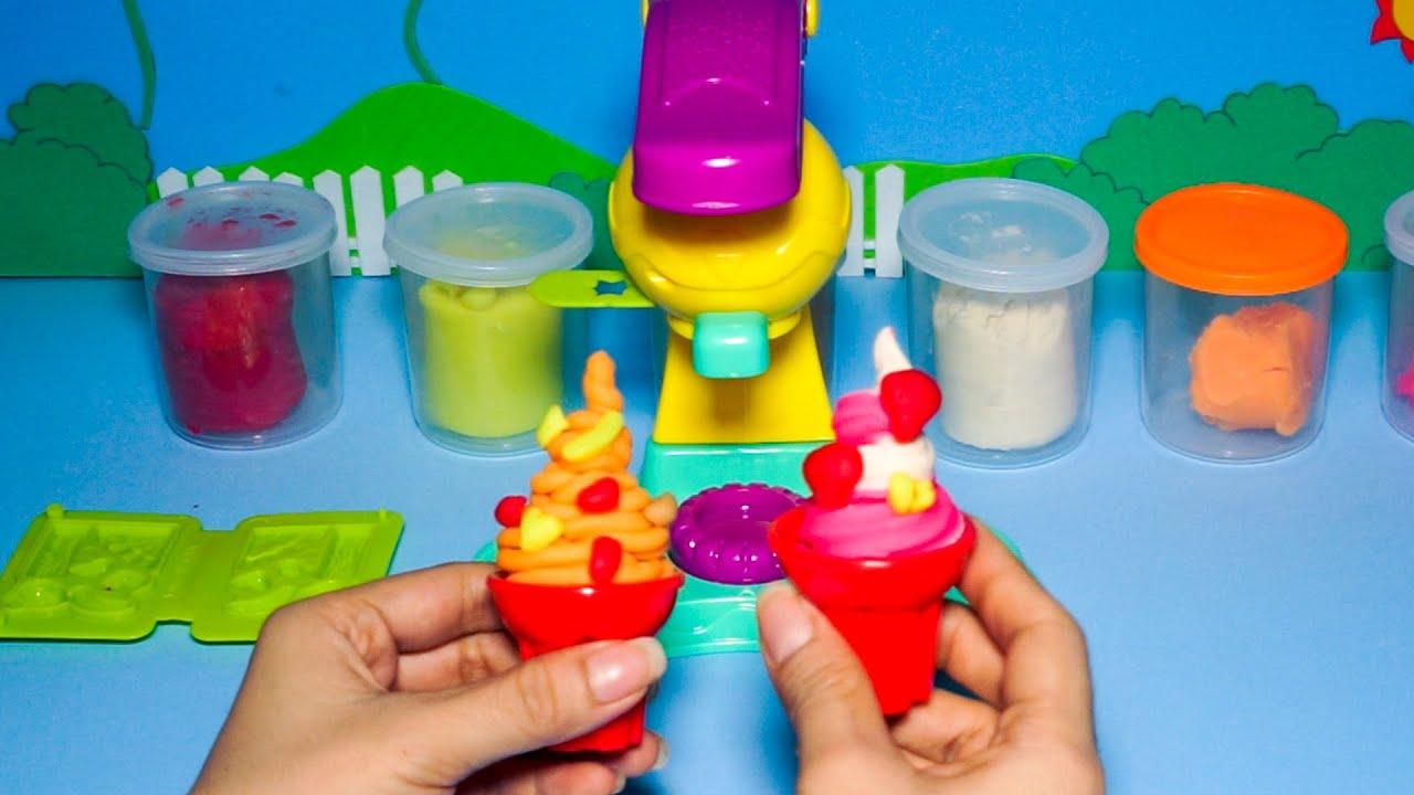 Máy làm kem – Làm 2 ly kem dâu và kem cam cực ngon, cực hấp dẫn từ đồ chơi máy làm kem bằng đất sét