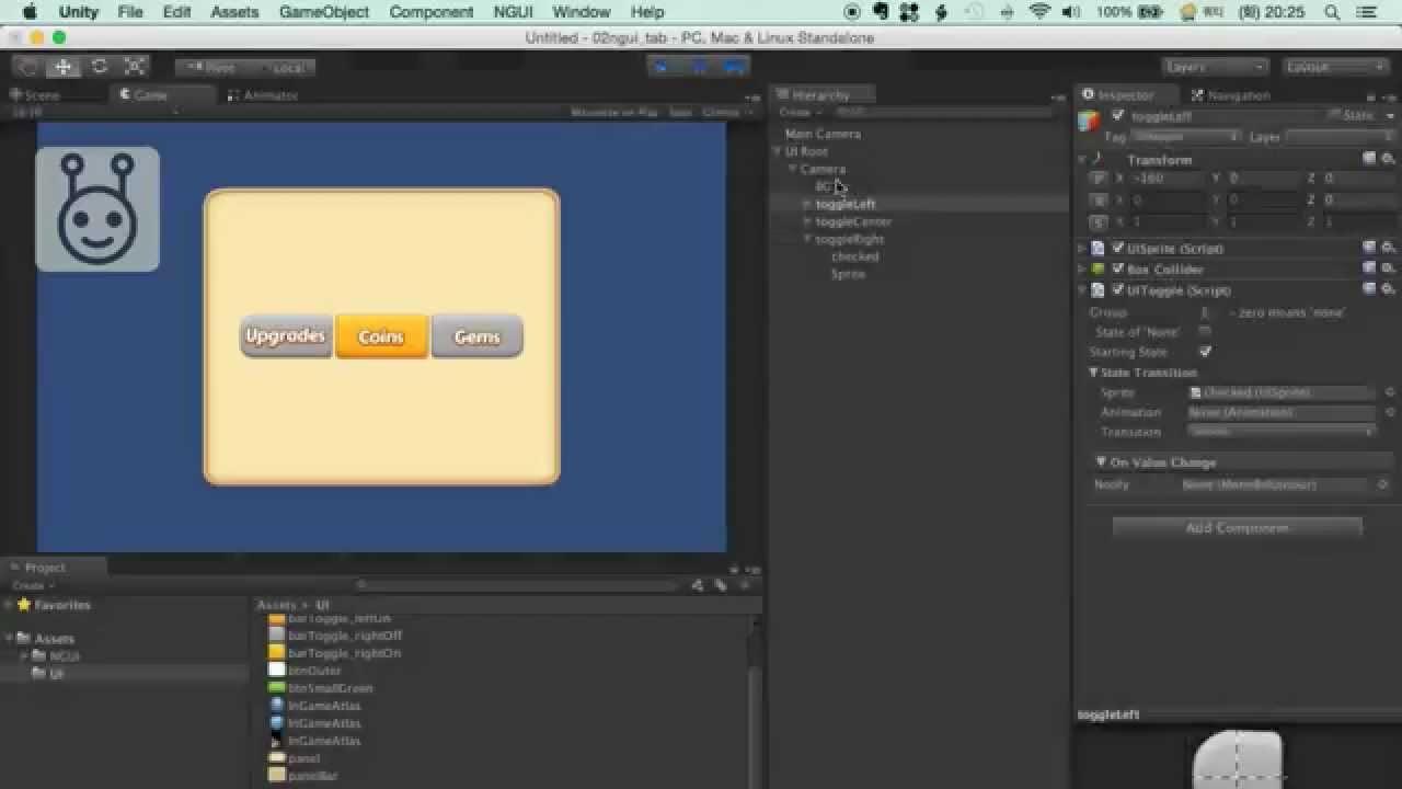 유니티3D 튜토리얼 - 02 - NGUI로 Tab UI 만들기