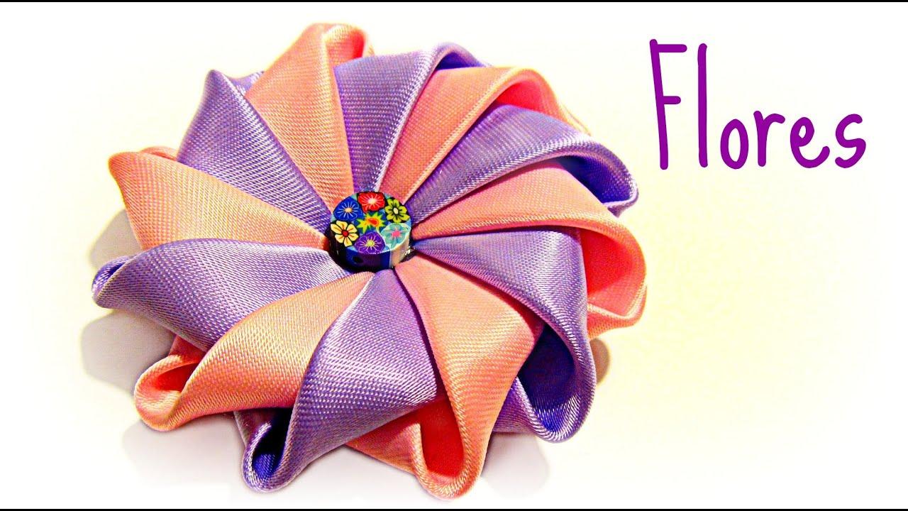 C mo hacer flores con cinta de raso how to make ribbons - Como hacer flores ...