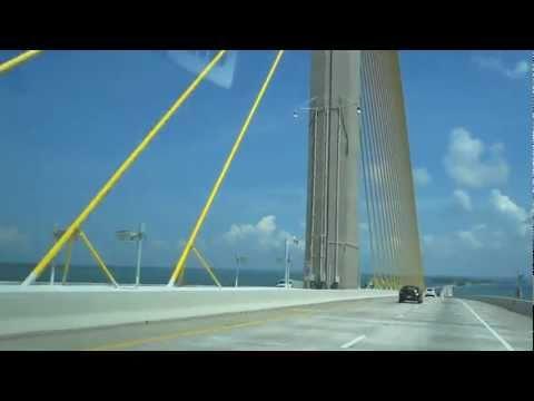 Driving Over Sunshine Skyway Bridge to St. Petersburg, Florida