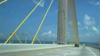 Driving Over Sunshine Skyway Bridge to St. Petersburg, Florida