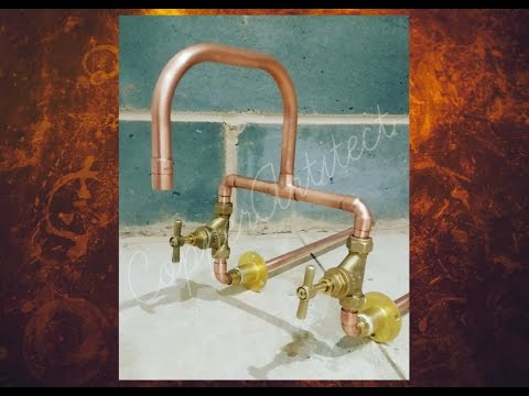 rose-gold-wall-mounted-mixer-taps-with-brass-handles---15mm-copper-pipe