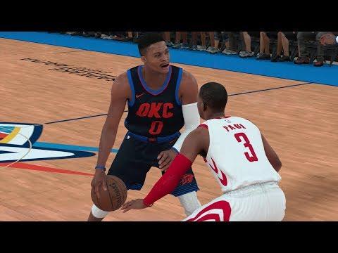 NBA 2K18 Gameplay Oklahoma City Thunder vs Houston Rockets (Harden & CP3 vs Westbrook & PG13)