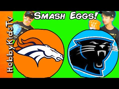 Giant BRONCOS Vs PANTHERS Surprise Eggs
