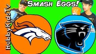 Giant BRONCOS vs PANTHERS Surprise Eggs