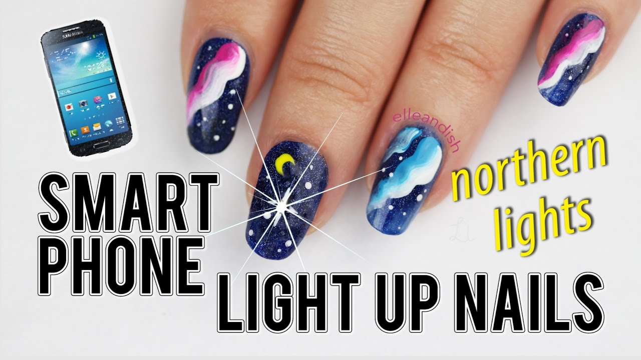 Smartphone Light Up Nail Sticker Northern Lights Nails
