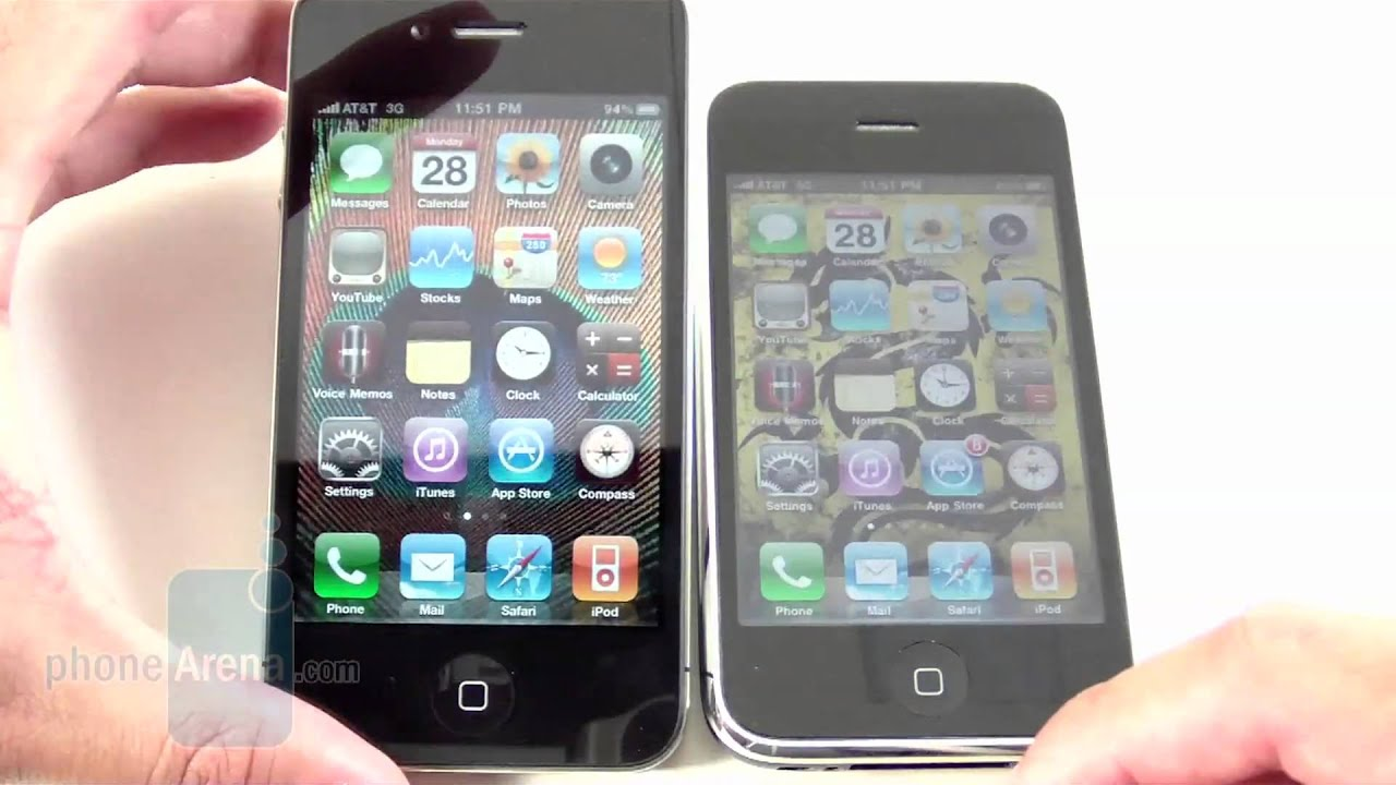 apple iphone 4 vs apple iphone 3gs side by side youtube. Black Bedroom Furniture Sets. Home Design Ideas