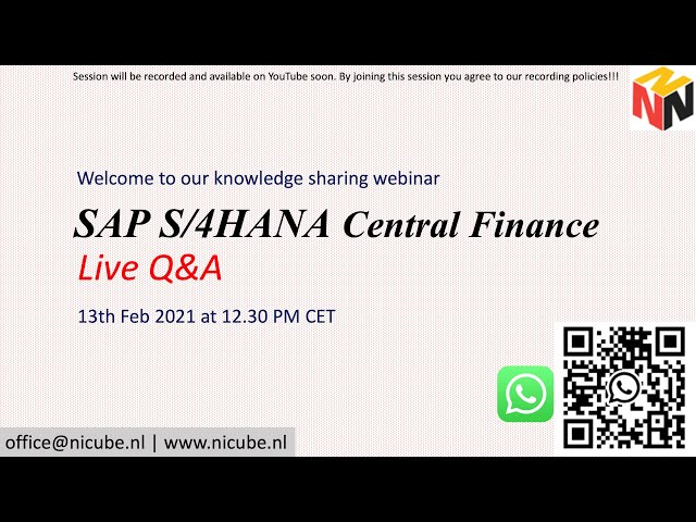 SAP Central Finance Live Q&A Session